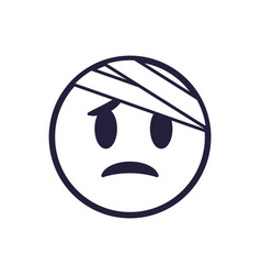 Hurt emoji face flat style icon design vector