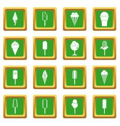 ice cream icons set green vector image