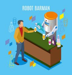 isometric robotic restaurant background vector image