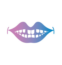 line smile mouth with dental teeth vector image