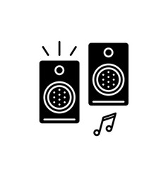 loudspeakers black icon sign on isolated vector image