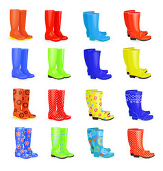 Lovely collection of gum boots different colors vector
