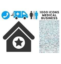 Military Building Icon with 1000 Medical Business vector image