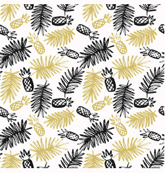 Modern seamless pattern with pineapples and palm vector