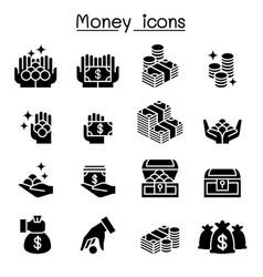 money coin cash icon set vector image