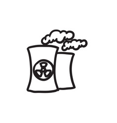 Nuclear power plant sketch icon vector