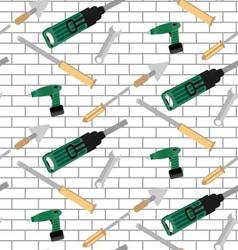 Pattern tools construction on brick wall vector image