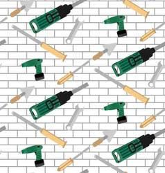 Pattern tools construction on brick wall vector