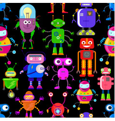 pattern with robots vector image