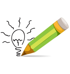 Pencil and Eco bulb light vector image