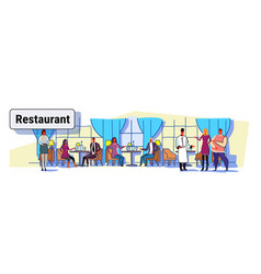 People visitors sitting at restaurant tables vector