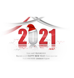 pf 2021 new year with christmas hat and ribbons vector image