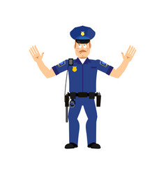Police officer surprised isolated policeman vector