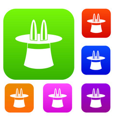 rabbit ears appearing from a top magic hat set vector image