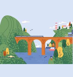 railway bridge with moving train at beautiful vector image