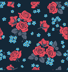Red roses and myosotis flowers on dark blue vector