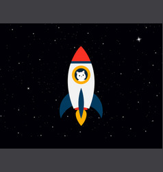 rocket with cat astronaut on background stars sky vector image