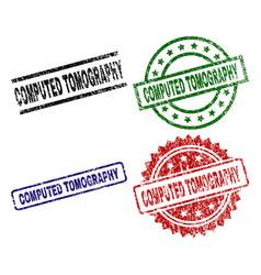 Scratched textured computed tomography stamp seals vector