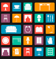 seamless background with icons of furniture vector image