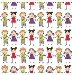 Seamless pattern with of children vector