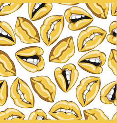 seamless pattern with sexy golden lips vector image