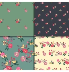 Seamless Vintage Wildflowers Pattern Set vector image