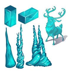 set cubes ice and products in form vector image