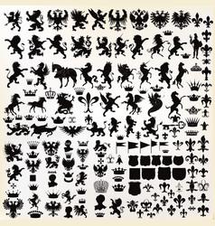 set vintage heraldic elements for design vector image
