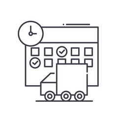 Shedule delivery icon linear isolated vector