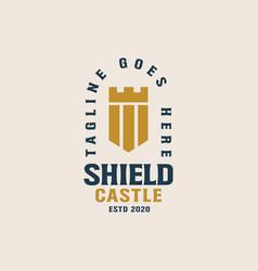 shield castle logo template vector image