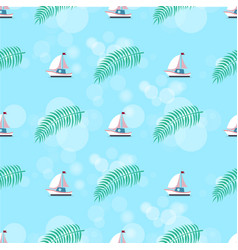 Ship and leaves pattern set vector