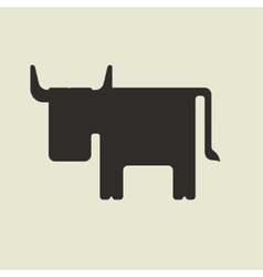 Silhouette of cute cartoon bull with horns vector image