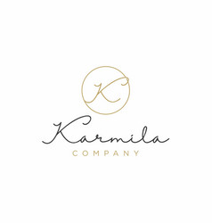Simple elegant luxury initial letter k logo design vector