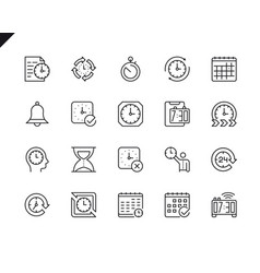 simple set time related line icons vector image
