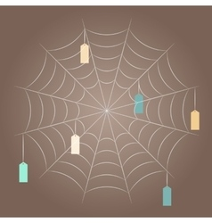 Spider mesh with hanging tags vector