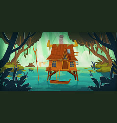 stilt house in swamp with boat vector image