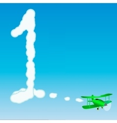 The plane draws a number in the sky One vector image vector image