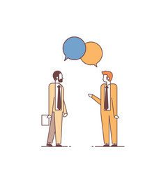 two men discussing business meeting chat bubble vector image