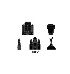 Ukraine kiev flat travel skyline set ukraine vector