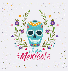 Viva mexico colorful poster with decorative skull vector