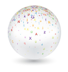white ball with colorful letters vector image