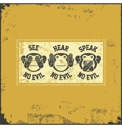 wise monkey poster vector image