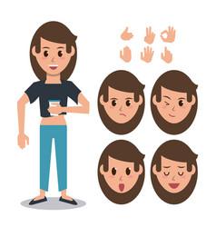 woman character set vector image