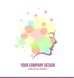 Woman face contour profile beauty logo vector