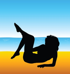woman silhouette on beach vector image
