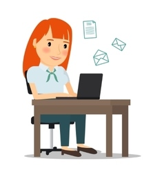 Woman with laptop computer sending email vector
