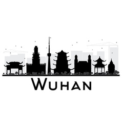 Wuhan city skyline black and white silhouette vector