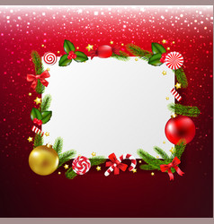 xmas banner with red glitter background vector image