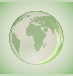 earth in a glass globe in green vector image