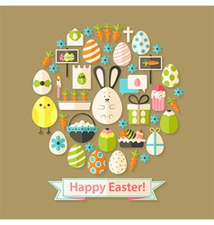Easter Greeting Card with Flat Icons Set circular vector image vector image